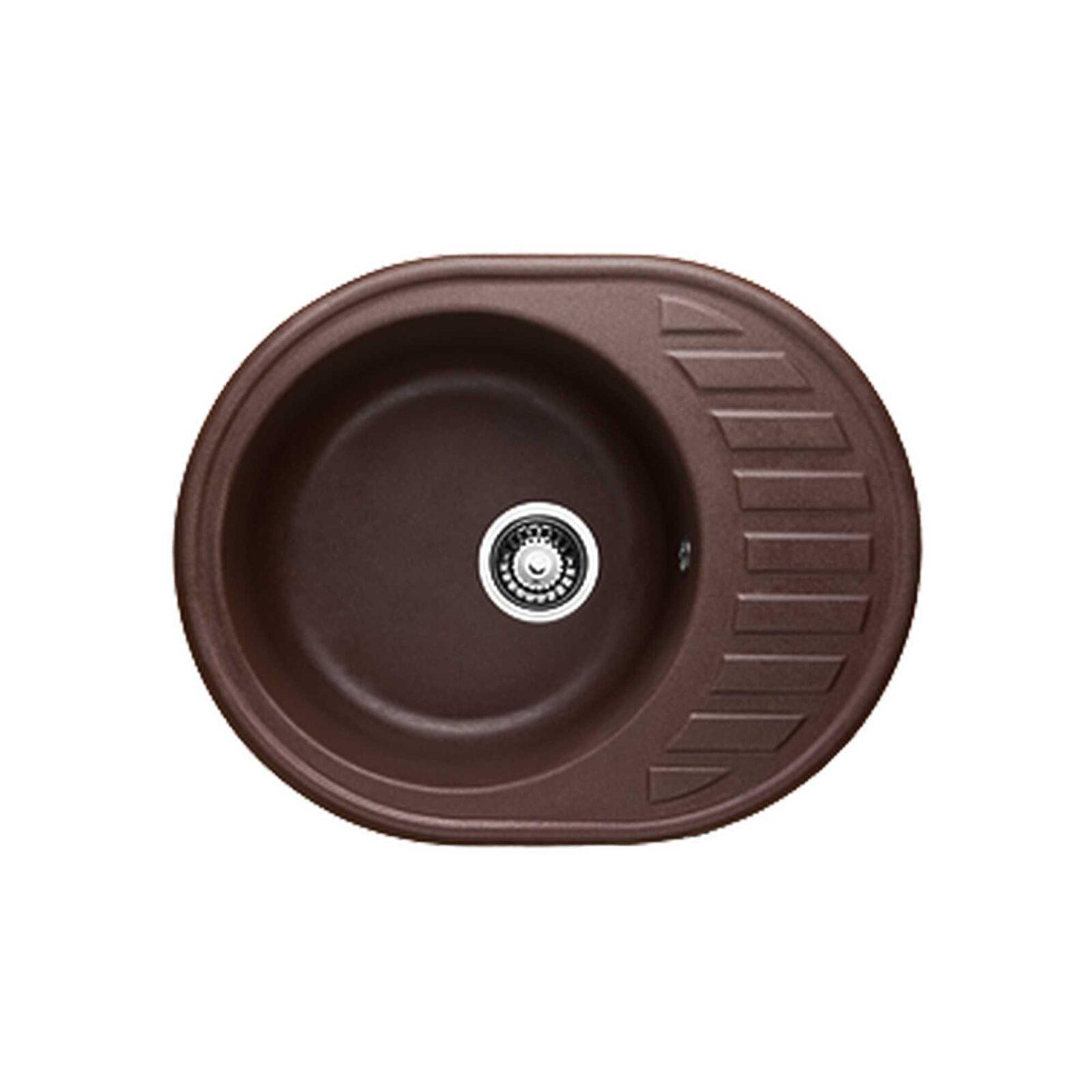 Мойка G-15(шоколад) (620х490х190) из гранитной крошки+сифон