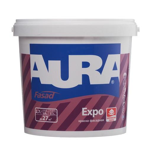 Краска белая, матовая для фасадов и помещений с повышенной влажностью AURA Fasad Expo 2,7л