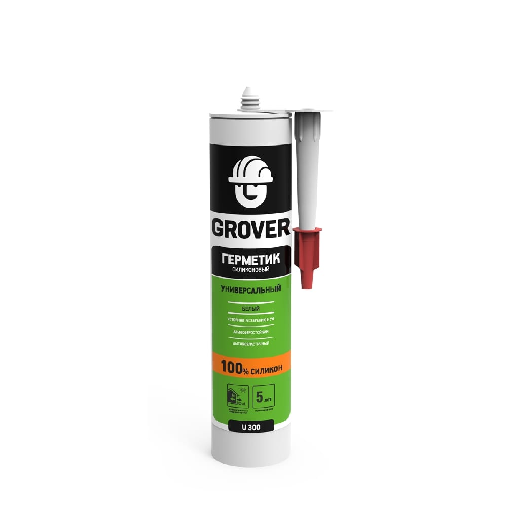 Герметик GROVER U300 силиконовый универсальный белый 300мл