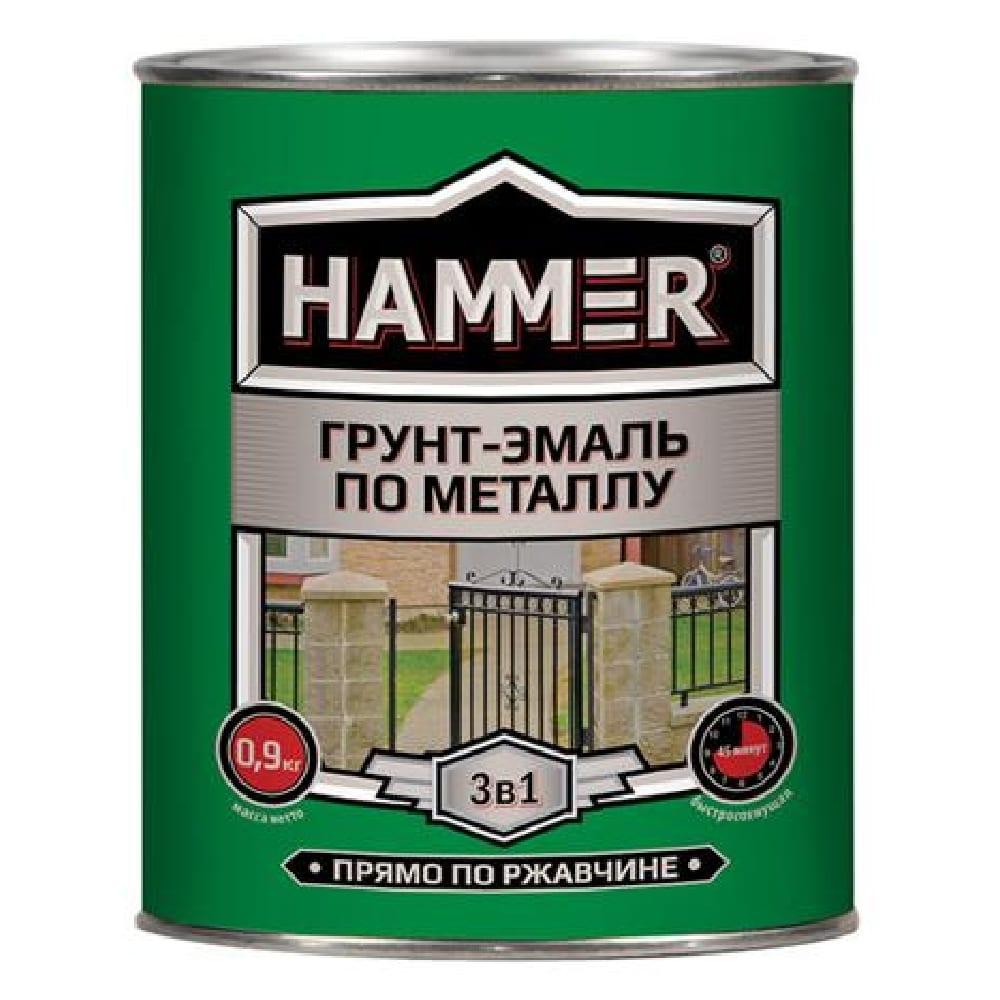 Грунт-эмаль по металлу HAMMER жёлтая (0,9кг)