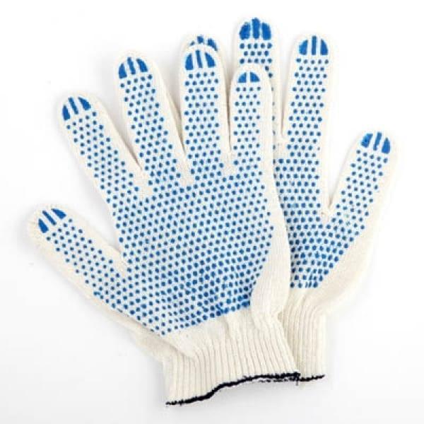 Перчатки вязаные с ПВХ специальные белая пряжа 6 нитей Люкс