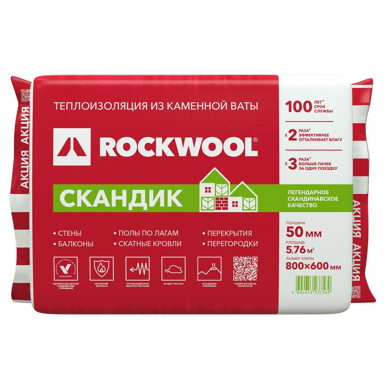 Минеральная вата ROCKWOOL Лайт Баттс СКАНДИК 50*600*800 (12шт/уп / 0,288м3)