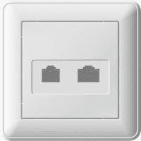 Розетка Wessen 59 телефон + компьютер (белая)