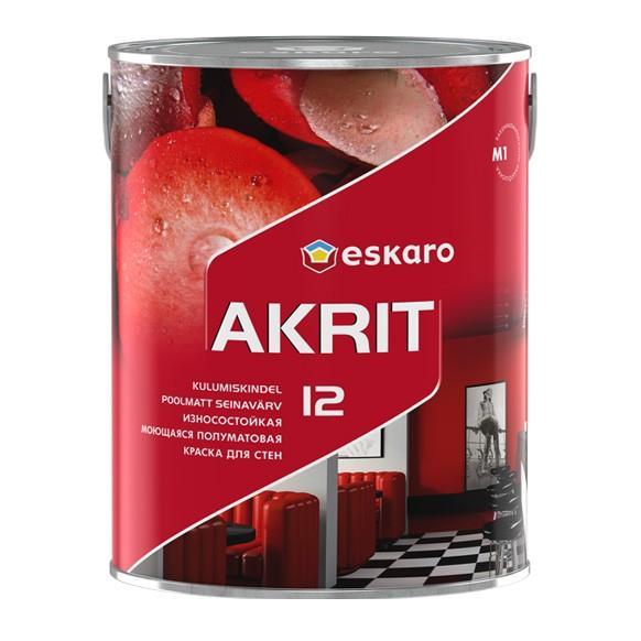 Краска белая моющаяся износостойкая для стен АKRIT-12 0,95л