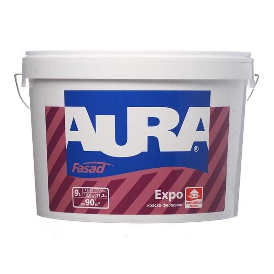 Краска для фасадов и помещений с повышенной влажностью, белая, матовая AURA Fasad Expo 9л