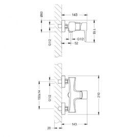 Смеситель Lemark Evitta LM0503C для душа схема основные размеры