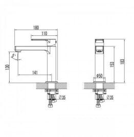 Смеситель для раковины Lemark LM1537C Plus Grace схема основные размеры