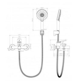 Смеситель для ванны Lemark Minima LM3814C схема основные размеры