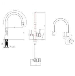 Смеситель для кухни с подключением к фильтру с питьевой водой Lemark Comfort LM3075C-Green схема основные размеры