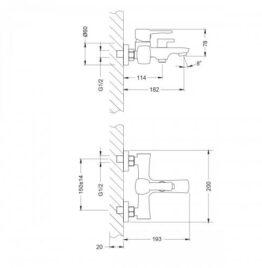 Смеситель для ванны Lemark Evitta LM0514C размеры
